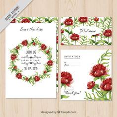 Pacote de convite de casamento coroa de flores Vetor grátis