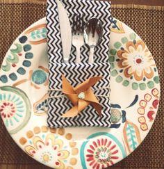 Fun Pinwheel Chevron Napkin Place Setting