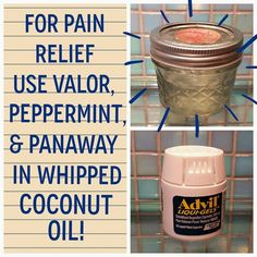 I can't believe how three oils can take the place of advil for me. I used to take it every day for pain. Now my pain cream takes the place of the advil. Around 10 drops of peppermint, panaway, and valor in 4 ounces of whipped coconut oil. Quick pain relief!