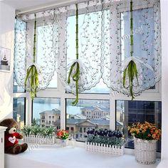 1Stk. 100x80cm gestickte Blumen Raffrollos Hebe Tüll Fenster Vorhang Sheer für Badezimmer Küche Balkon HHIDI-508353