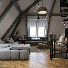 Grey walls, dark trim, medium floors