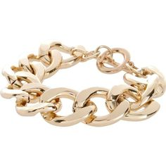 River Island Gold Tone Chunky Curb Chain Bracelet ($13) ❤ liked on Polyvore