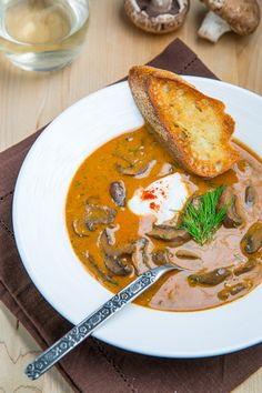 Hungarian Mushroom Soup - Kevin's Closet Cooking This is a keeper - easy to prepare and great. Would used smoked paprika next time along with the Hungarian paprika- use Greek yogurt instead of sour cream Hungarian Mushroom Soup, Hungarian Paprika, Mushroom Stew, Mushroom Soup Recipes, Stuffed Mushrooms, Stuffed Peppers, Hungarian Recipes, Hungarian Food, Soup And Sandwich