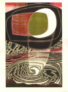 Semi-abstract composition; a white moon casting its light on the landscape below. 1960  Colour linocut