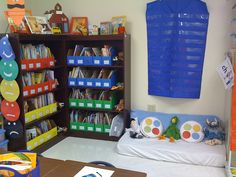 classroom library and seating area crib mattress... what a great idea!