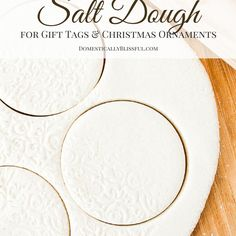 A simple tutorial for creating beautiful white salt dough for christmas ornaments & gift tags! Ever since I was a kid I have played & created with salt dough. It's inexpensive, easy to make, & pretty versatile. As a kid I created shapes, animals, & people from... #christmas #gifttags #ingredients