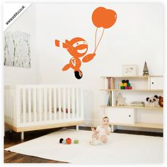 Shoply.com -Robot and balloons vinyl wall sticker - (unweeded and application tape provided). Only £4.99
