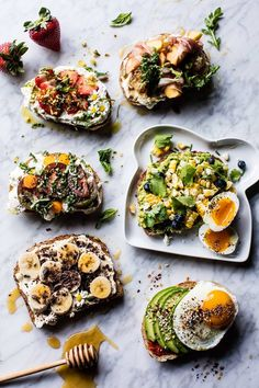Breakfast Toasts - Nut-Butter Banana Chia Toasts, Avocado Egg, Heirloom Tomato, Basil and Ricotta, Corn Salsa with Avocado, and Strawberry and Ricotta