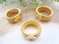 50pcs retractable gold plated Ring Blanks  ring by happycord, $16.50