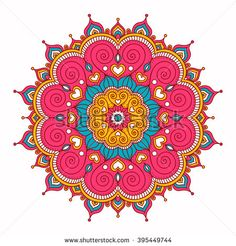 Vector hand drawn doodle mandala with hearts. Ethnic mandala with colorful ornament. Isolated. Pink, white, yellow, blue colors.