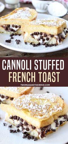 This Cannoli-Stuffed French Toast is definitely indulgent and perfect for an Eas. This Cannoli-Stuffed French Toast is definitely indulgent and perfect for an Easter breakfast. French Toast Rolls, Make French Toast, Cinnamon French Toast, French Toast Sandwich, Chocolate French Toast, Cannoli, Pavlova, Brunch Recipes, Gourmet Recipes