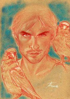 Damon Salvatore © Théo Adamec #sanguine #white_pastel #crows #vampire