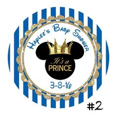 Birthday Name, Mickey Mouse Birthday, Royal Blue And Gold, Blue Gold, Printable Labels, Printables, Baby Shawer, Round Labels, Custom Labels