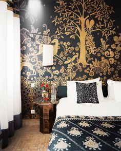 Black and gold wall decal in bedroom
