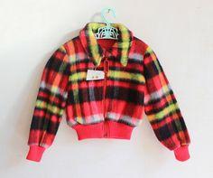 VINTAGE 70's / enfant / blouson / manteau / veste / carreaux / hiver / stock ancien neuf / taille 4 ans