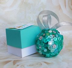 Green Button flowergirl gift, green button ball, bridesmaid gift, wedding accessory, green and silver, door hanger, festive tree decoration by DunnCrafting on Etsy