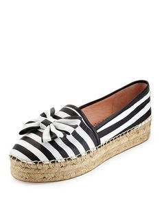 "kate spade new york striped napa leather espadrille flat. 1"" flat heel. Round…"