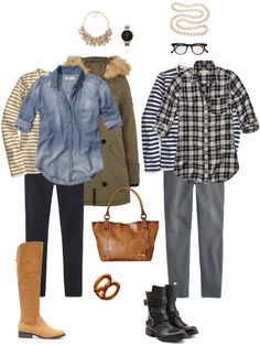 Ensemble: Casual Layers & Bling. Again, still searching for the perfect plaid blouse and a field jacket or vest.
