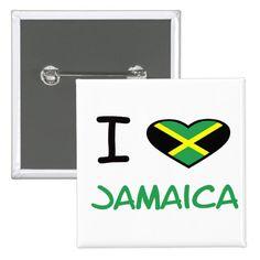 #custom #Jamaican Themed #gifts #button #capital9 -  I heart (love) Jamaica