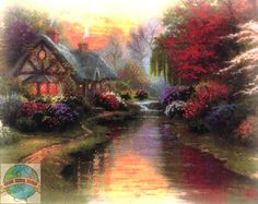 Thomas Kinkade Embellished Cross Stitch Kit a Quiet Evening 10 X 8 House for sale online Cross Stitch House, Cross Stitch Art, Cross Stitch Designs, Cross Stitching, Cross Stitch Embroidery, Cross Stitch Patterns, Stitching Patterns, Thomas Kinkade, Kinkade Paintings