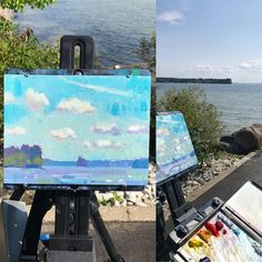"""Daniel Corey on Instagram: """"Lakes are like Oceans but with different colors and a lot less waves. #flyonthewalleasel #pleinair #pleinairlandscape #sebagolake…"""" Fly On The Wall, Oceans, Lakes, Different Colors, Sea, Painting, Instagram, Painting Art, The Ocean"""