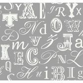 Risky Business II Word Play Wallpaper RB4273 -White-City Gray