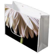 White Gerbera Daisy Large Gift Bag