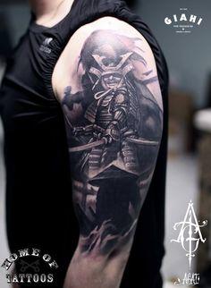 ... samurai tattoo on right half sleeve colored samurai tattoo on man left