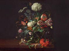 Oil dutch dark painting vintage victorian floral wallpaper