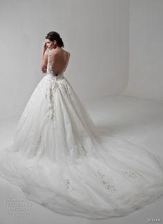 jillian 2017 bridal sleeveless strap deep v neck plunging heavily embellished bodice romantic ball gown a  line wedding dress low open back chapel train (megan) bv