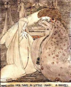 """""""None with Her Save a Little Maid, a Novice"""" by Jessie M. King  [Guenivere in the convent.]"""