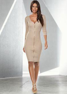 RIBBED LUREX SWEATER DRESS, RHINESTONE MEDALLION HEEL