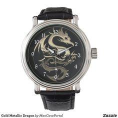 Gold Metallic Dragon Watch Vintage Leather, Vintage Men, Vintage Black, Pocket Watches, Out Of Style, Cool Watches, Portal, Metallic, Dragon
