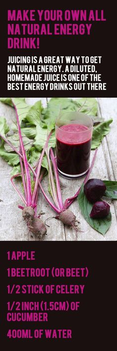 All-natural energy juice is a great way to refuel. Celery and cucumber for hydration, and beetroot (or beets) for vitamin C, potassium, manganese, and folate which are seen as increasingly important in sports-nutrition. -->> Throw in some turmeric for anti-inflammatory properties, and ginger for sustained energy. (Don't worry, you get use to the taste after a while) :)