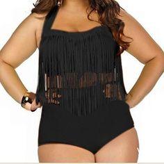 5d5aa7f90f3 Plus Size Swimwear for You! Women s Plus Size High Waist Braided Fringe  Tassel Bikini Swimwear