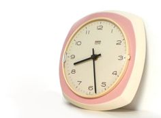 Vintage ceramic wall clock - Kitchen wall clock pink and white - 1960s - made in Germany on Etsy, $59.00