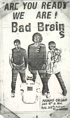 How Low Can a Punk Get? Bad Brains in a cheesy local TV segment, 1981 Music Flyer, Concert Flyer, Concert Posters, Rock Posters, Band Posters, Music Posters, Punk Rock, Punk Poster, Gig Poster