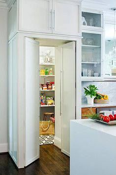 Dry-storage kitchen pantry hidden behind polished modern cabinetry---yay or nay?   ‪#‎kitchen‬ ‪#‎organization‬ ‪#‎dreamhome‬ ‪#‎cooking‬