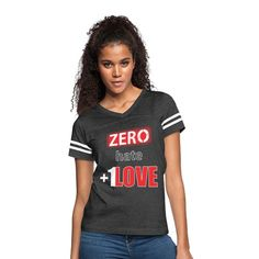 Inspirational T-Shirts Designed and Sold by FutureImaging Join together and help Cancel out hate with a 'Zero Hate +1 Love' design displaying strength and courage to erase any hate. IF Hate equals 0 AND Love equals 1... Love always wins. #shopping #fashion #design #standup #standout #standtogether Vintage Sport, Vintage Ladies, Sport T-shirts, Lat Apparel, Skater Girls, Custom Clothes, Crew Neck Sweatshirt, Long Sleeve Shirts, Cotton Fabric