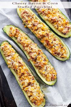 Cheesy Bacon and Corn Stuffed Zucchini - Zucchini halves stuffed with an insanely delicious mixture of cheese, bacon and corn! (It's an easy swap with our Benevolent Bacon! Breakfast And Brunch, Fruits And Veggies, Vegetables, Vegetable Dishes, Food Dishes, Side Dishes, I Love Food, Vegetable Recipes, The Best