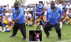 College football coach busts out his MC Hammer dance moves