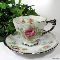 Vintage China Footed Cup | Vintage Japan AACO China Eggshell Footed Silver Overlay Tea Cup ...