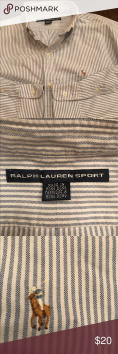 Ralph Lauren sport button up shirt blue and white Very clean condition. Ralph Lauren sport. Woman's size 10. Pony emblem on the front. Blue and white pin stripes ralph lauren sport Tops Button Down Shirts