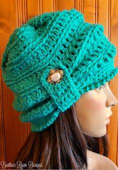 Free Crochet Pattern Wintertide Beanie - free crochet pattern at Beatrice Ryan Designs Crochet Adult Hat, Crochet Beanie Pattern, Crochet Cap, Crochet Scarves, Crochet Clothes, Easy Crochet, Crochet Stitches, Free Crochet, Crochet Patterns