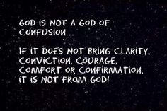 God is not a God of confusion