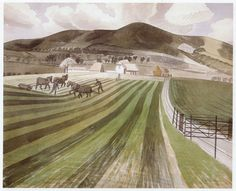 MOUNT CABURN by ERIC RAVILIOUS - print from an Eric Ravilious painting from c.1939.