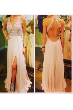 Sexy A-line V-neck Floor Length Chiffon Prom Dress with Lace