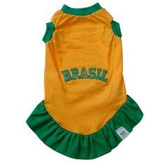 Vestido Fashion Brasil Amarelo Br.Cão - MeuAmigoPet.com.br #petshop #cachorro #cão #meuamigopet