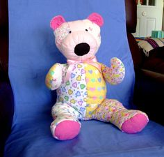 Quilted patchwork teddy bear made with cotton flannel blends. Handsewn and hand quilted. Made in America by IntricateHandiwork on Etsy, $70.00