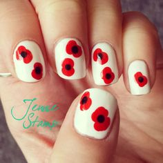 Remembrance Sunday Poppy Nails by jenniestamp.com